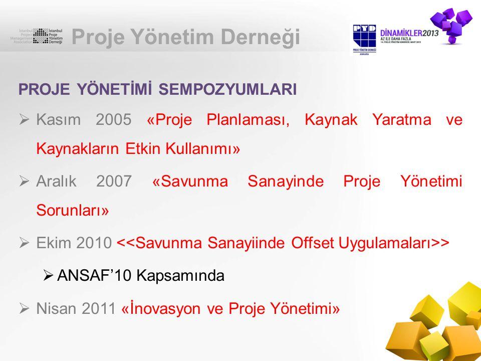 Proje Yönetim Derneği PROJE YÖNETİMİ SEMPOZYUMLARI