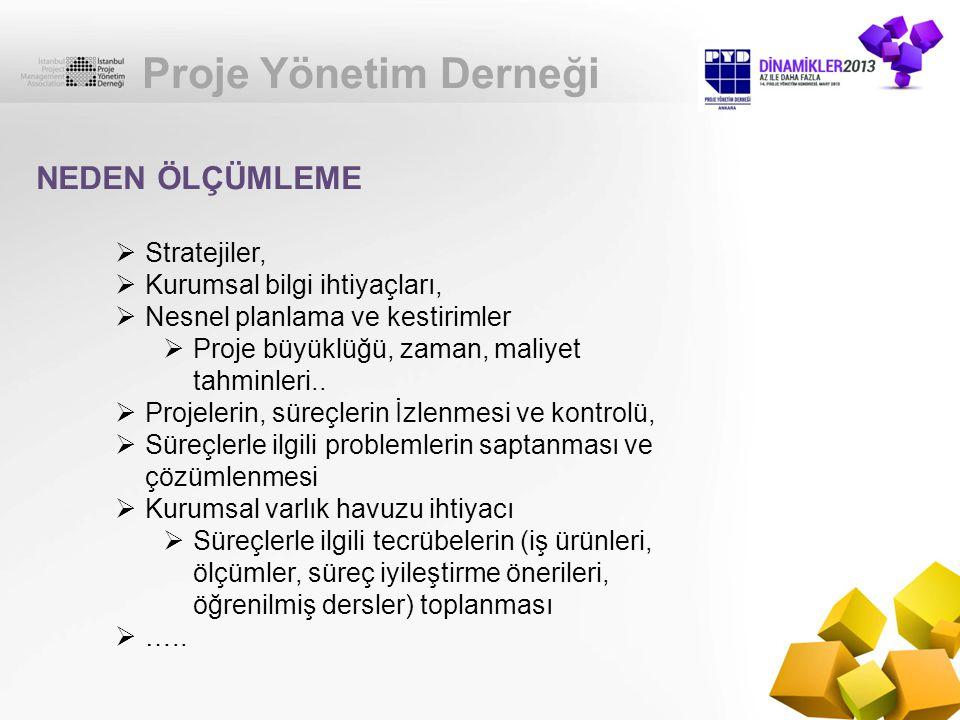 Proje Yönetim Derneği NEDEN ÖLÇÜMLEME Stratejiler,