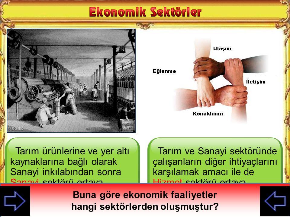 Buna göre ekonomik faaliyetler hangi sektörlerden oluşmuştur