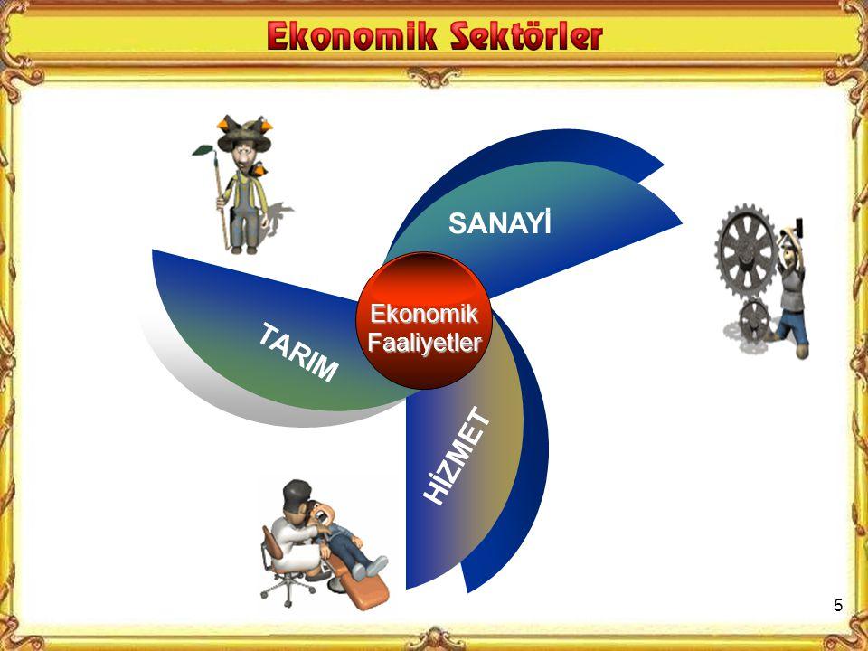 SANAYİ Ekonomik Faaliyetler TARIM HİZMET 5