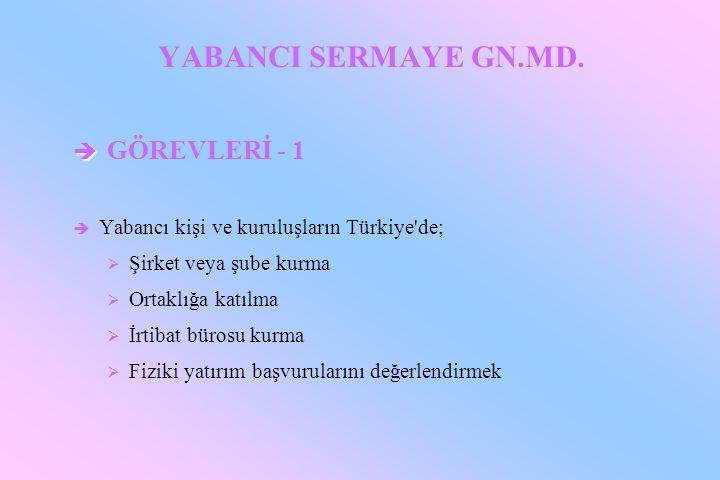 YABANCI SERMAYE GN.MD. GÖREVLERİ - 1