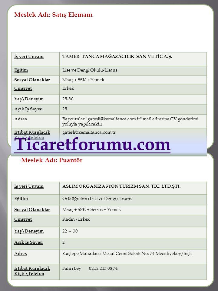 Ticaretforumu.com Meslek Adı: Satış Elemanı Meslek Adı :