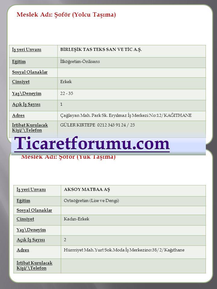 Ticaretforumu.com Meslek Adı: Şoför (Yolcu Taşıma) Meslek Adı :