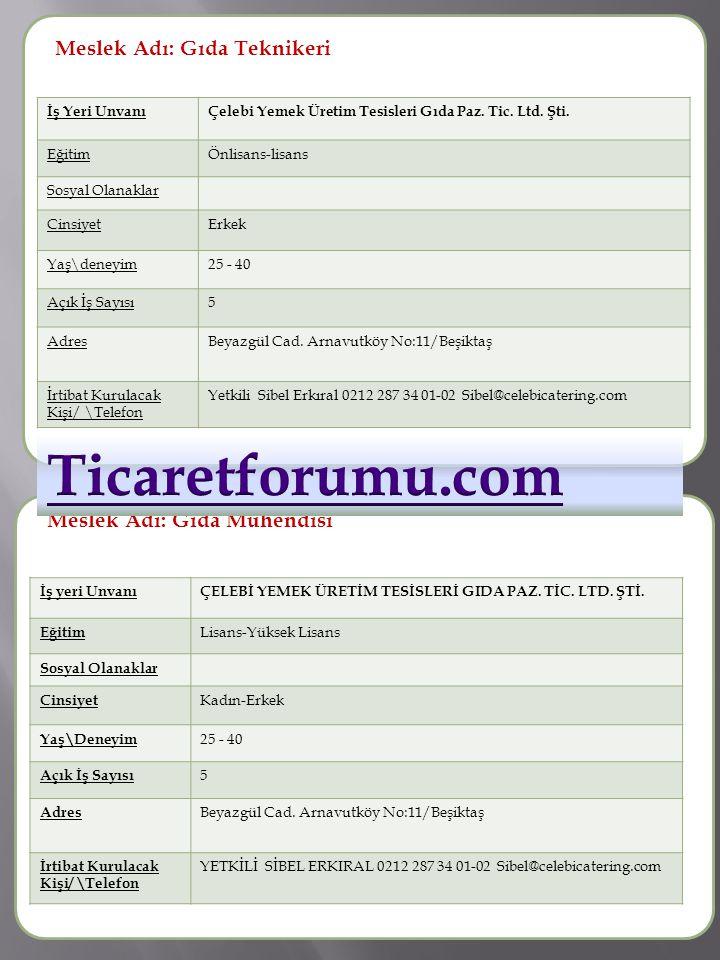 Ticaretforumu.com Meslek Adı: Gıda Teknikeri Meslek Adı :