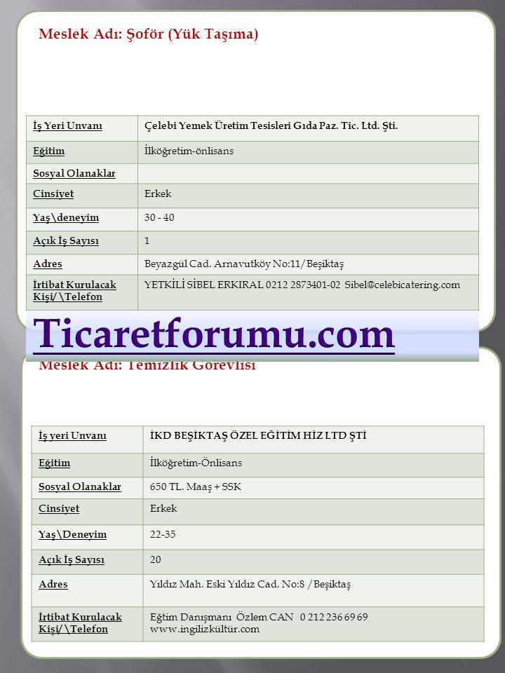 Ticaretforumu.com Meslek Adı: Şoför (Yük Taşıma) Meslek Adı :