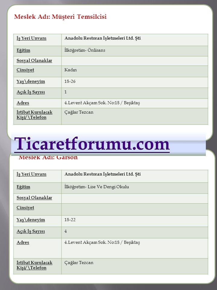 Ticaretforumu.com Meslek Adı: Müşteri Temsilcisi Meslek Adı :