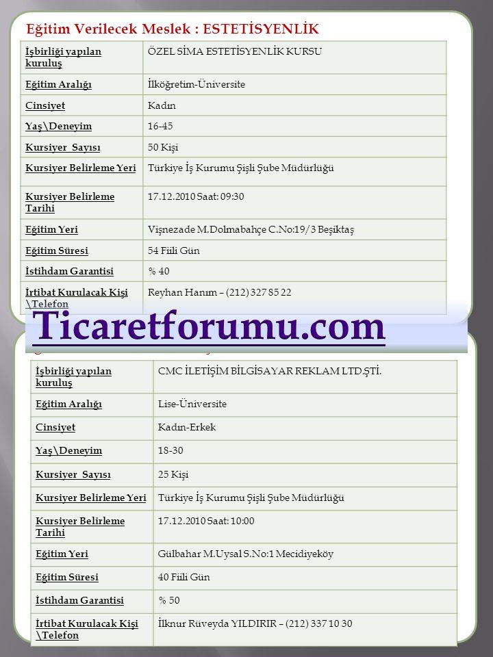 Ticaretforumu.com Eğitim Verilecek Meslek : ESTETİSYENLİK