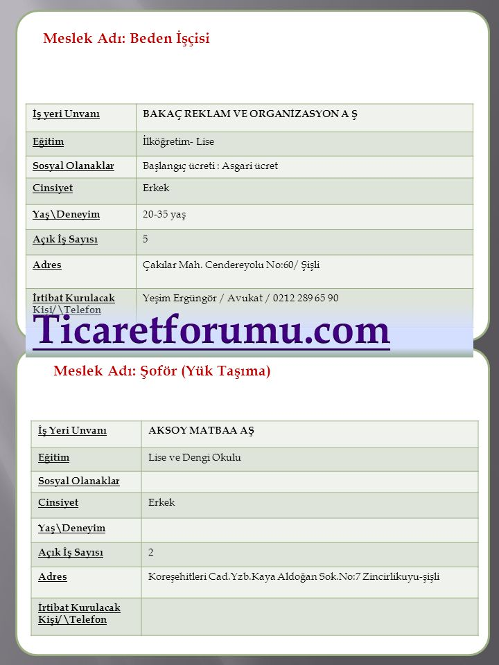 Ticaretforumu.com Meslek Adı: Beden İşçisi Meslek Adı :