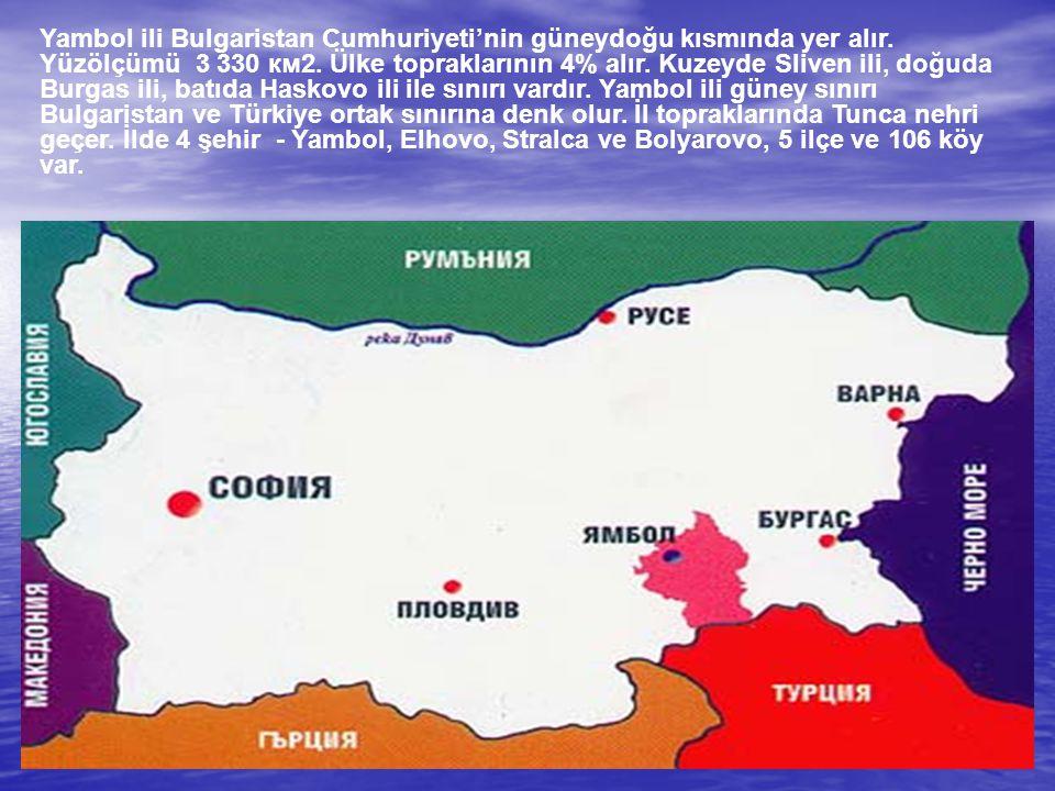 Yambol ili Bulgaristan Cumhuriyeti'nin güneydoğu kısmında yer alır