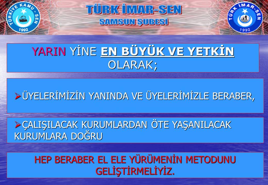 ÜYELERİMİZİN YANINDA VE ÜYELERİMİZLE BERABER,