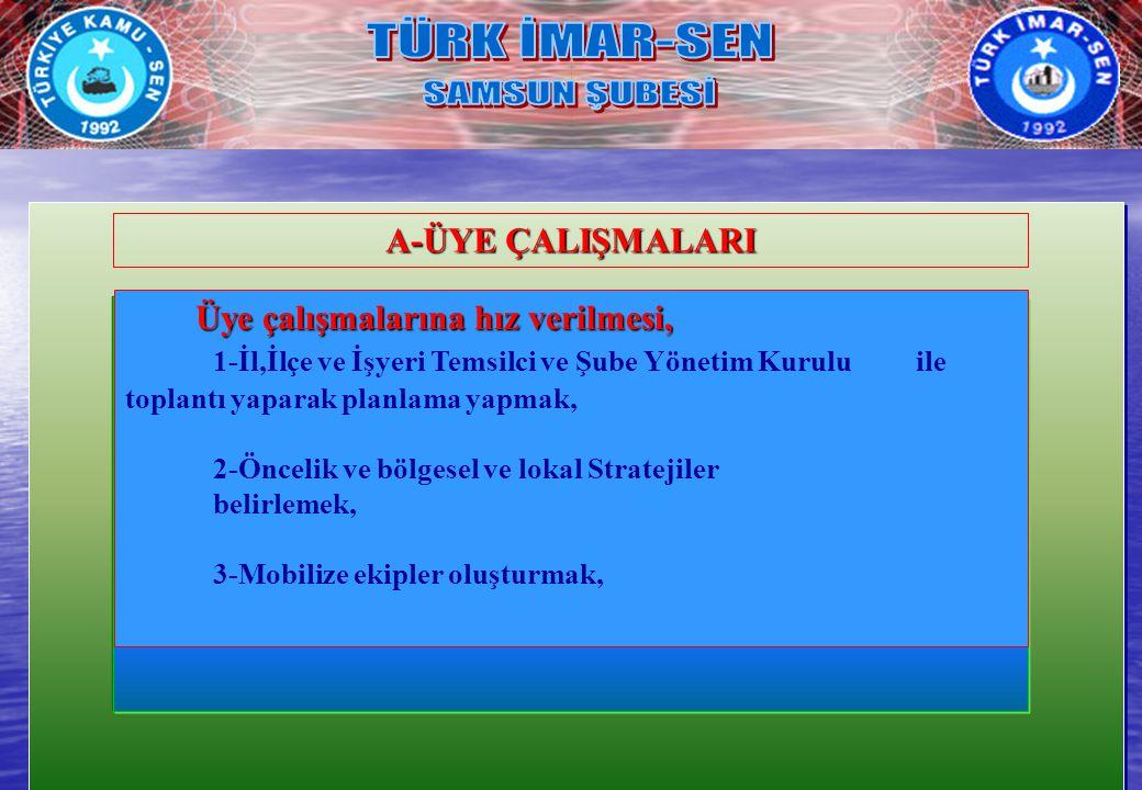 TÜRK İMAR-SEN SAMSUN ŞUBESİ A-ÜYE ÇALIŞMALARI