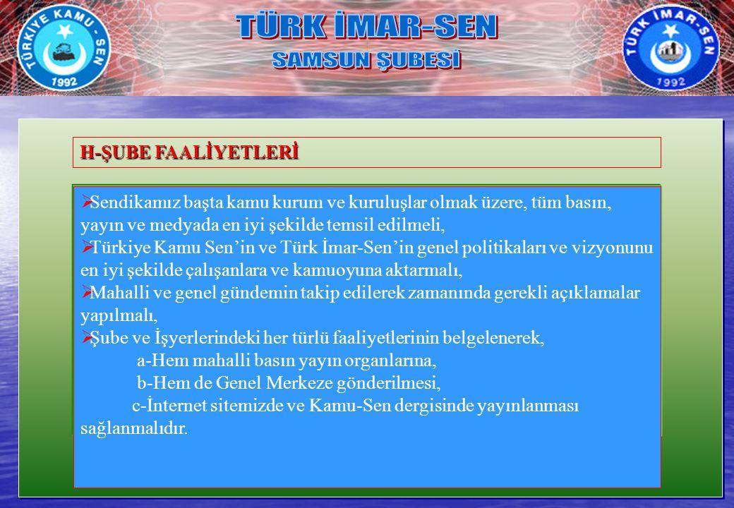 TÜRK İMAR-SEN SAMSUN ŞUBESİ H-ŞUBE FAALİYETLERİ
