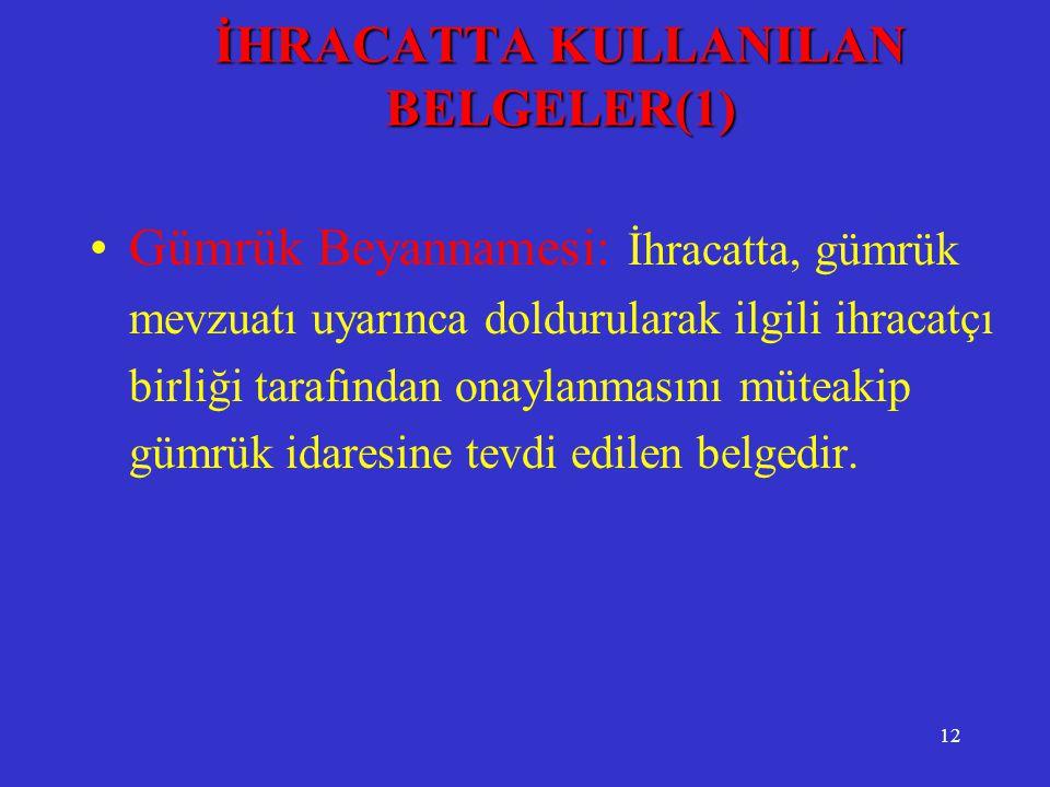 İHRACATTA KULLANILAN BELGELER(1)