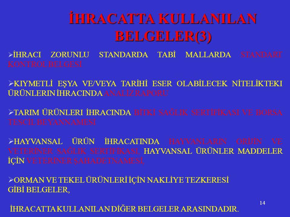 İHRACATTA KULLANILAN BELGELER(3)