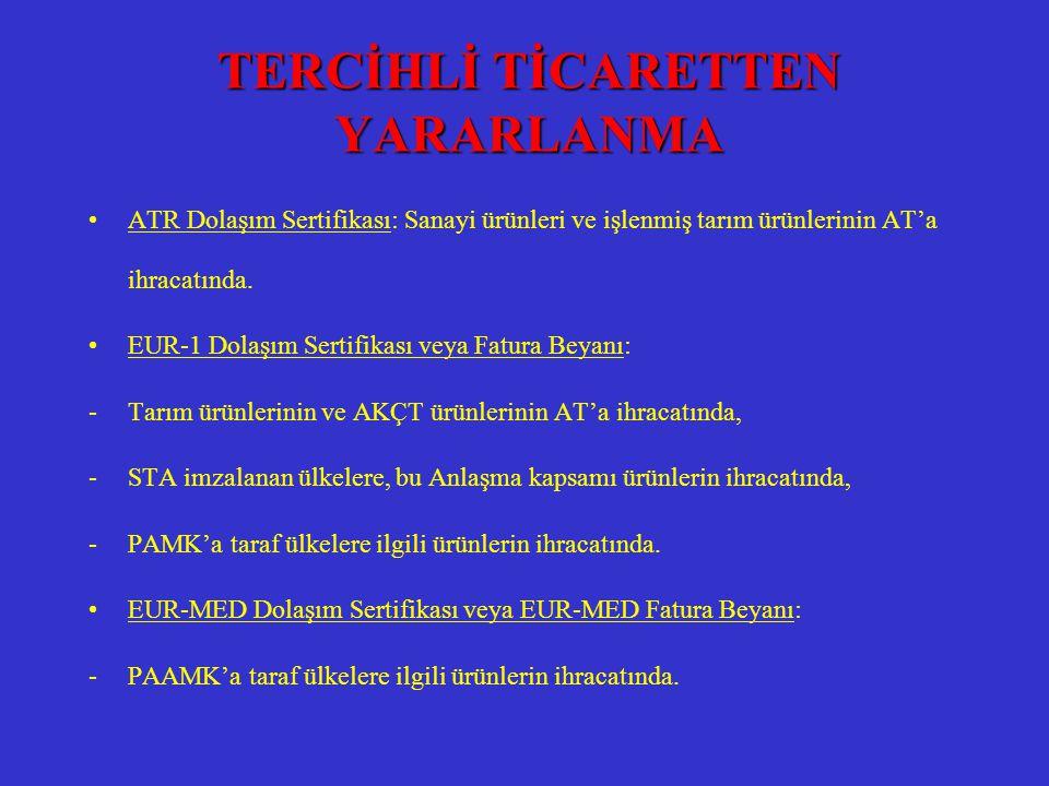 TERCİHLİ TİCARETTEN YARARLANMA