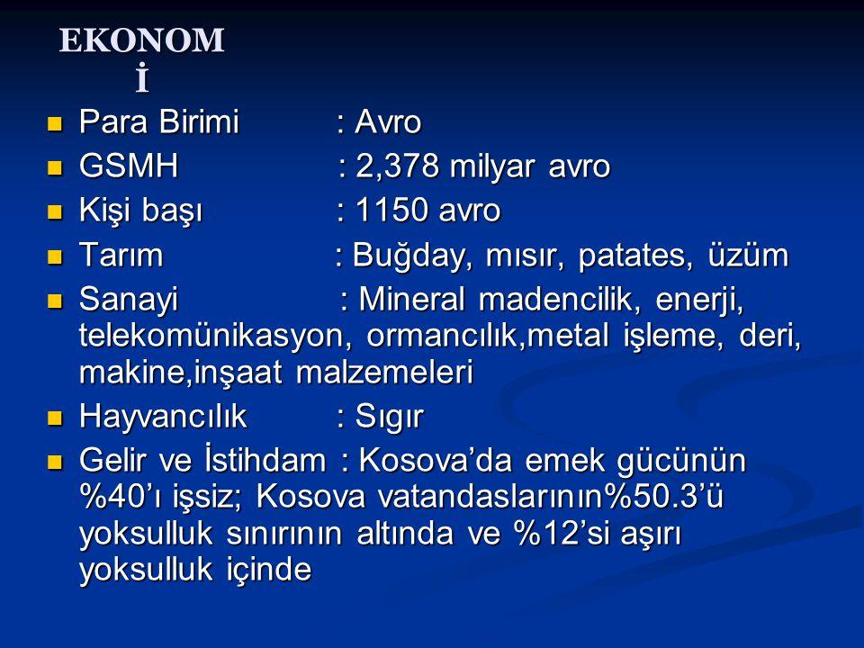 EKONOMİ Para Birimi : Avro. GSMH : 2,378 milyar avro. Kişi başı : 1150 avro.