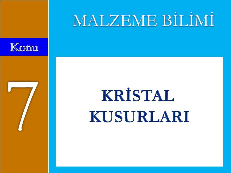MALZEME BİLİMİ Konu 7 KRİSTAL KUSURLARI