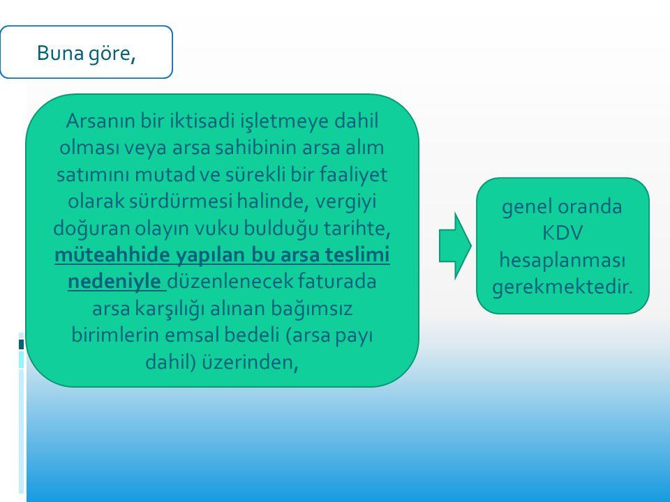 genel oranda KDV hesaplanması gerekmektedir.
