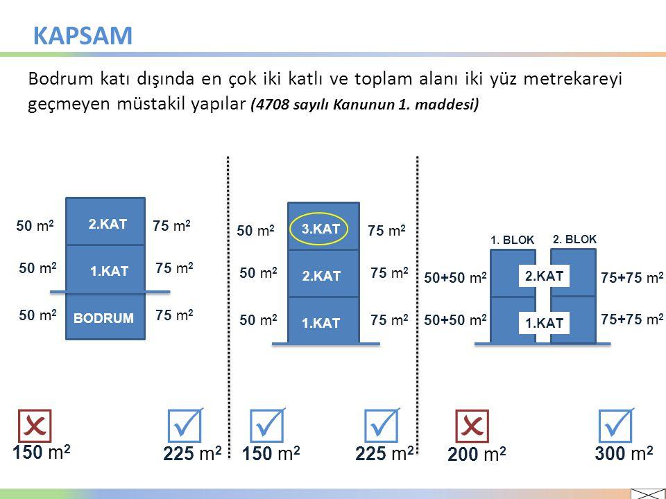 KAPSAM Bodrum katı dışında en çok iki katlı ve toplam alanı iki yüz metrekareyi geçmeyen müstakil yapılar (4708 sayılı Kanunun 1. maddesi)
