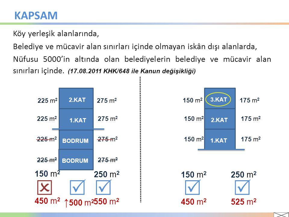      KAPSAM ↑500 m2 Köy yerleşik alanlarında,