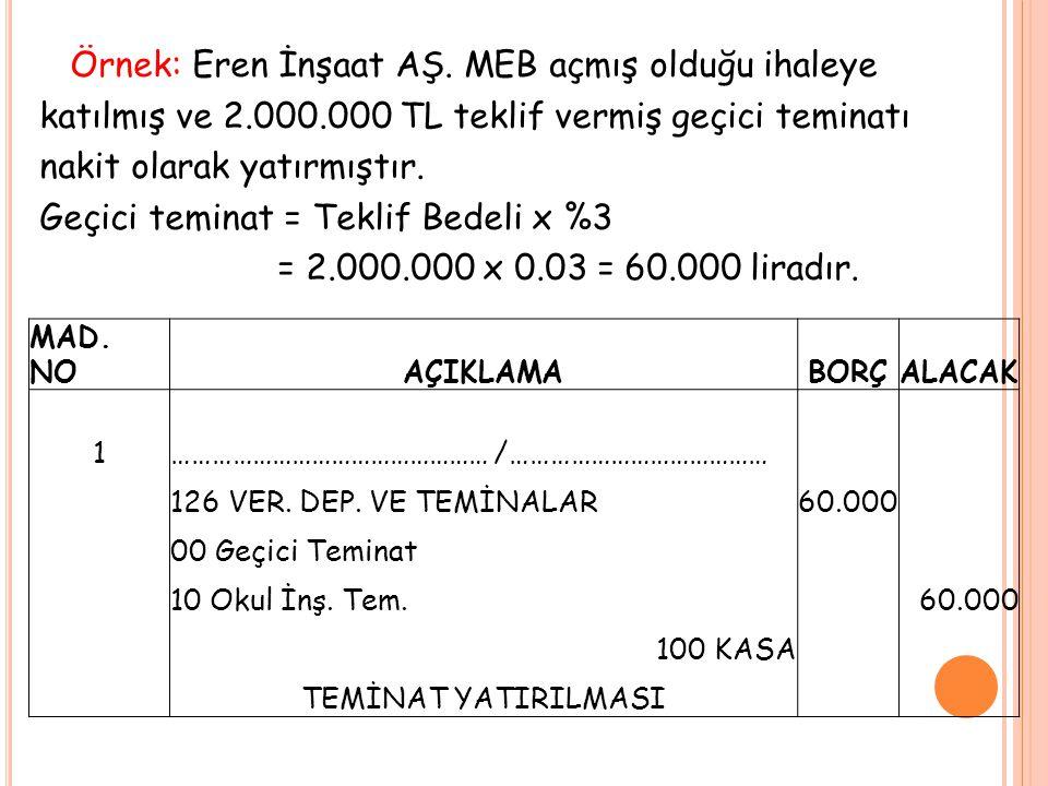 Örnek: Eren İnşaat AŞ. MEB açmış olduğu ihaleye katılmış ve 2. 000
