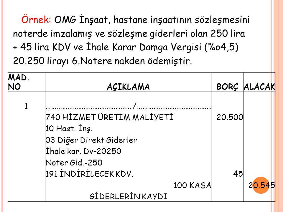Örnek: OMG İnşaat, hastane inşaatının sözleşmesini noterde imzalamış ve sözleşme giderleri olan 250 lira + 45 lira KDV ve İhale Karar Damga Vergisi (%o4,5) 20.250 lirayı 6.Notere nakden ödemiştir.