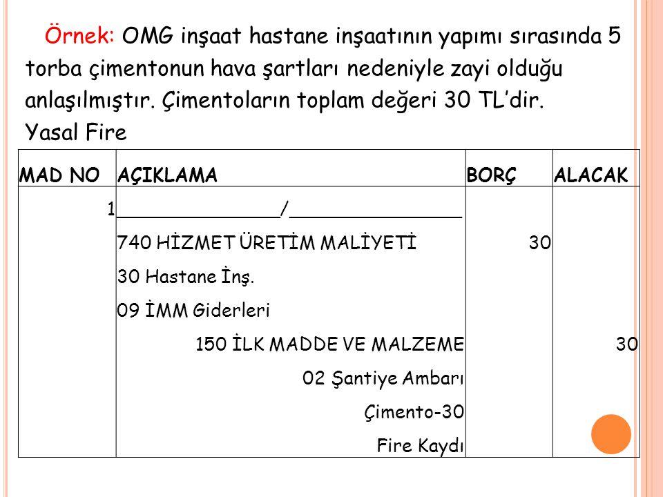 Örnek: OMG inşaat hastane inşaatının yapımı sırasında 5 torba çimentonun hava şartları nedeniyle zayi olduğu anlaşılmıştır. Çimentoların toplam değeri 30 TL'dir. Yasal Fire