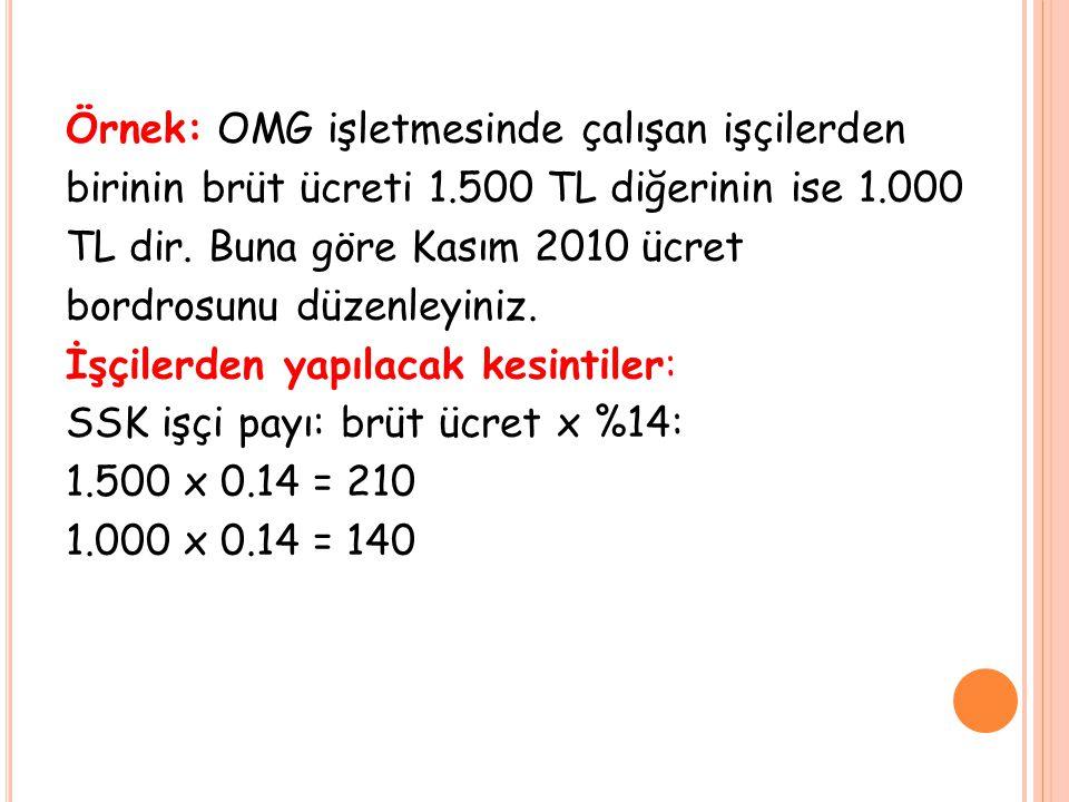 Örnek: OMG işletmesinde çalışan işçilerden birinin brüt ücreti 1