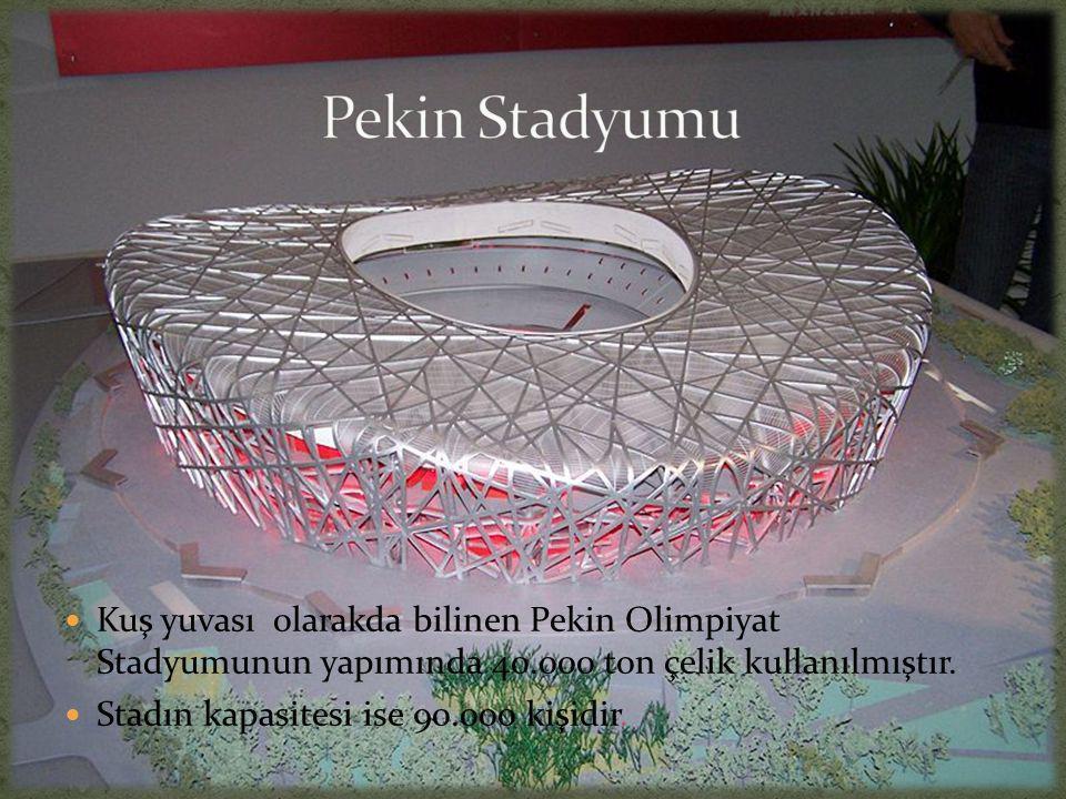 Pekin Stadyumu Kuş yuvası olarakda bilinen Pekin Olimpiyat Stadyumunun yapımında 40.000 ton çelik kullanılmıştır.