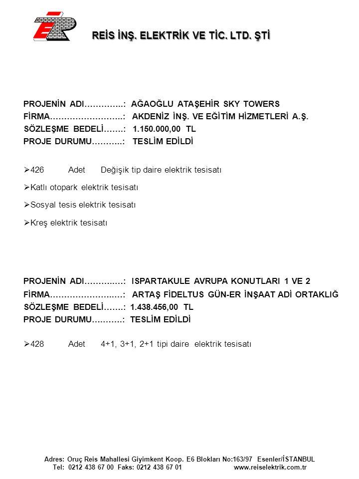 REİS İNŞ. ELEKTRİK VE TİC. LTD. ŞTİ