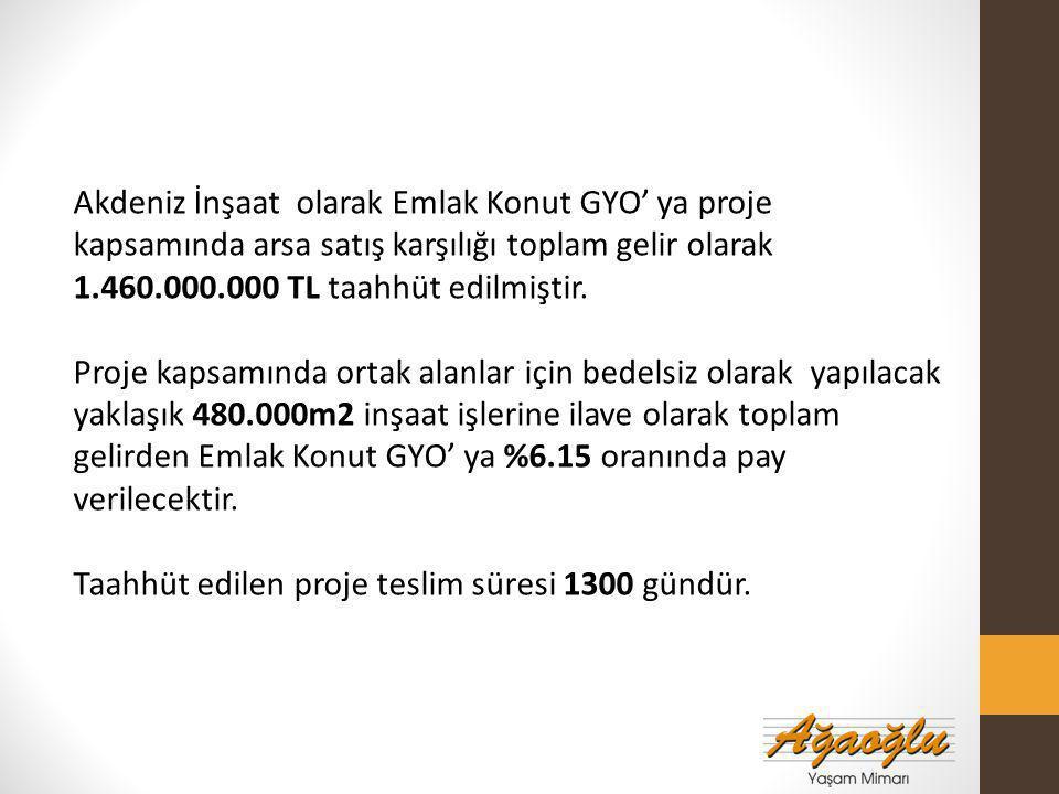 Akdeniz İnşaat olarak Emlak Konut GYO' ya proje kapsamında arsa satış karşılığı toplam gelir olarak 1.460.000.000 TL taahhüt edilmiştir.