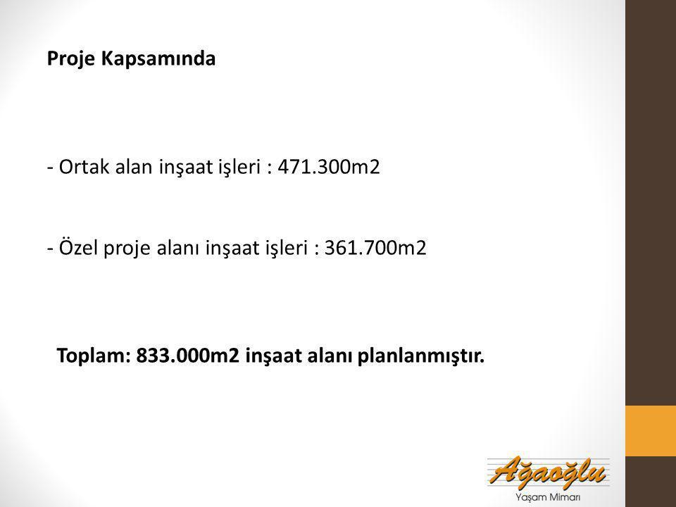 Proje Kapsamında - Ortak alan inşaat işleri : 471.300m2. - Özel proje alanı inşaat işleri : 361.700m2.
