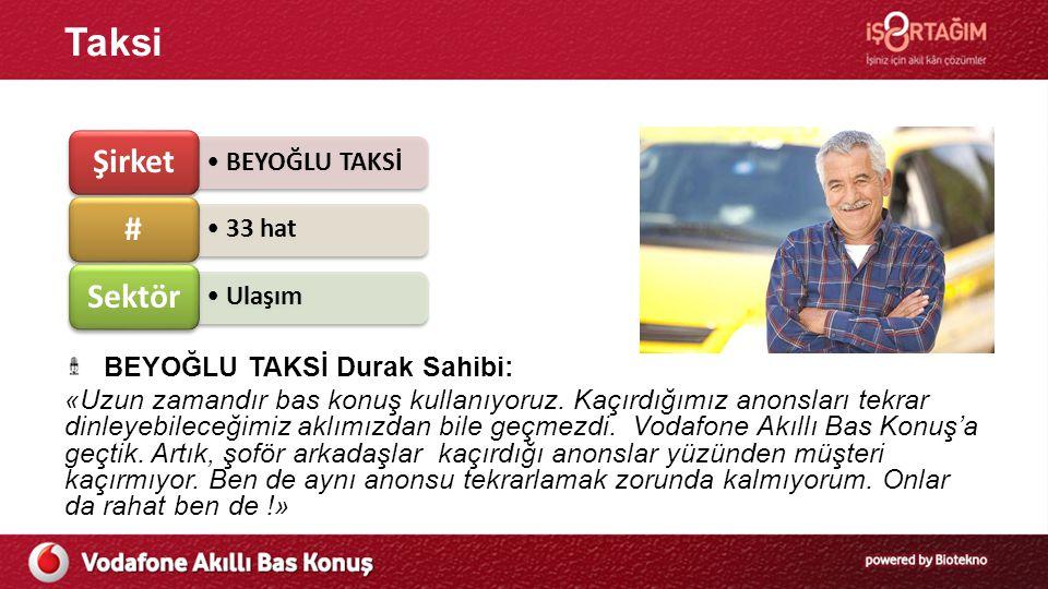 Taksi BEYOĞLU TAKSİ Durak Sahibi: