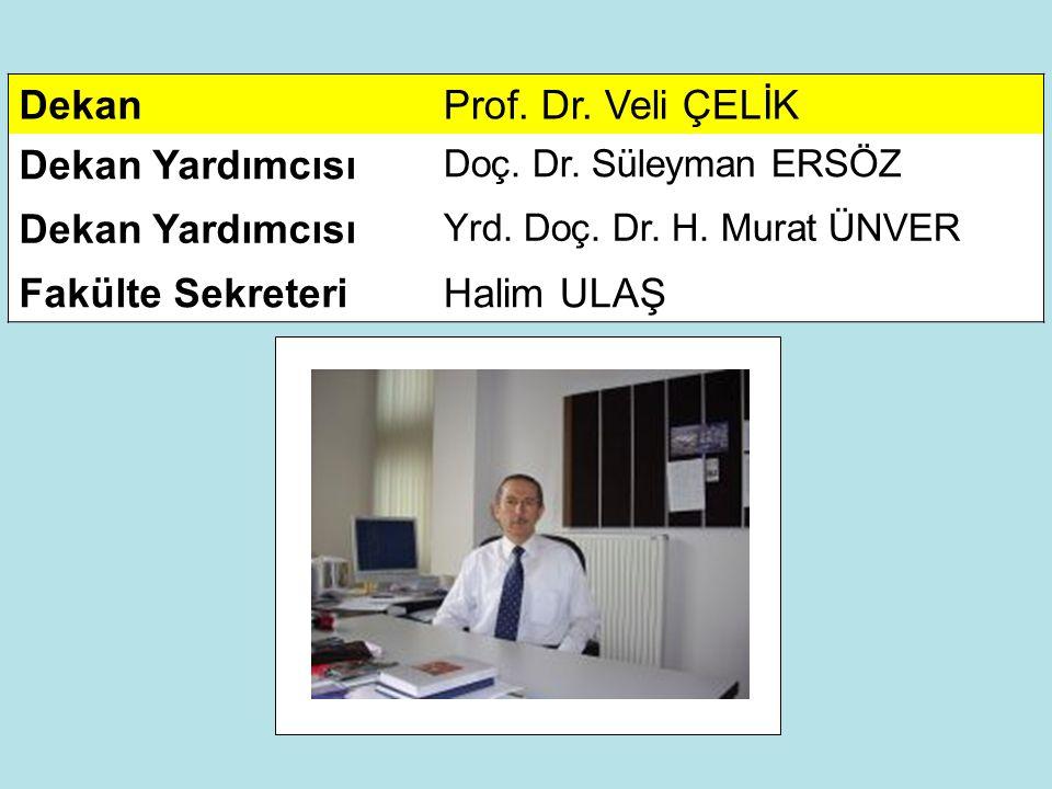 Dekan Prof. Dr. Veli ÇELİK Dekan Yardımcısı Fakülte Sekreteri