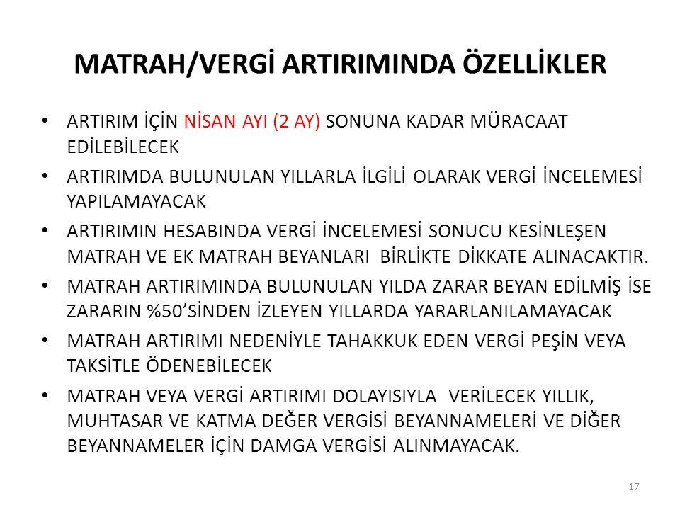 MATRAH/VERGİ ARTIRIMINDA ÖZELLİKLER