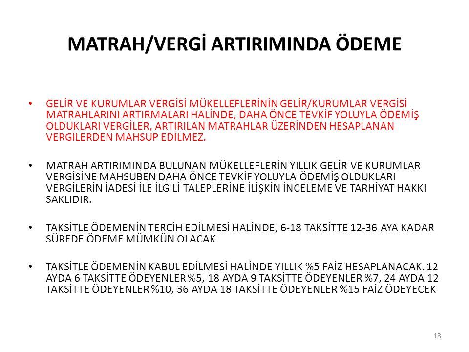 MATRAH/VERGİ ARTIRIMINDA ÖDEME