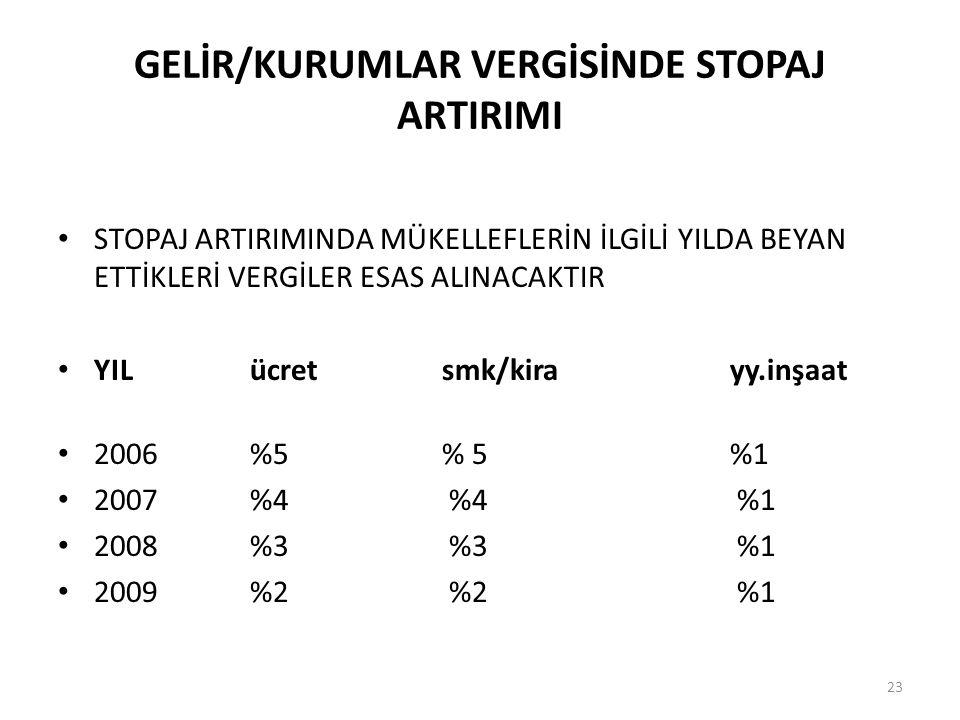 GELİR/KURUMLAR VERGİSİNDE STOPAJ ARTIRIMI