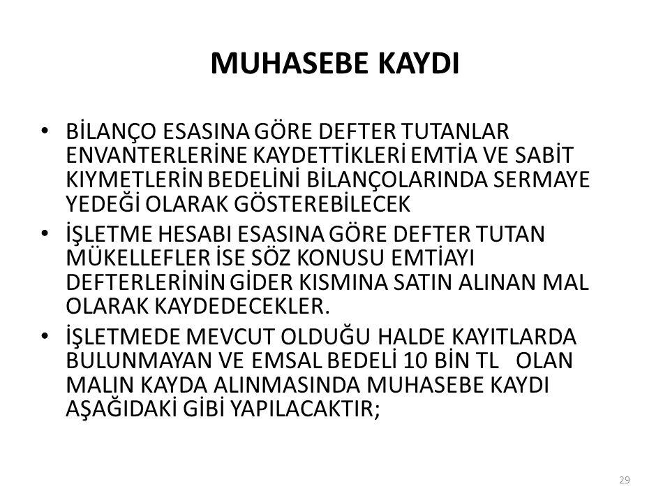MUHASEBE KAYDI