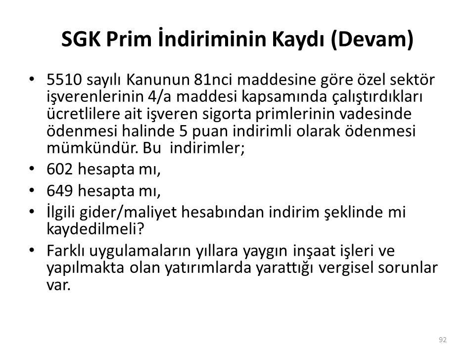 SGK Prim İndiriminin Kaydı (Devam)