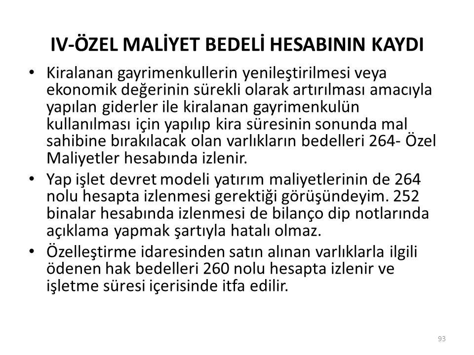 IV-ÖZEL MALİYET BEDELİ HESABININ KAYDI