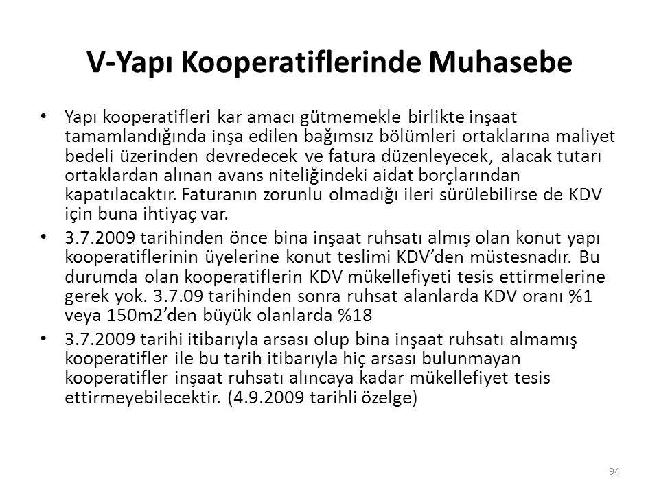 V-Yapı Kooperatiflerinde Muhasebe