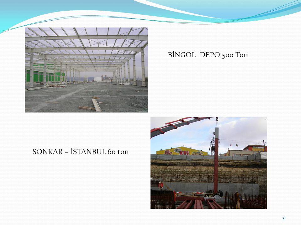 BİNGOL DEPO 500 Ton SONKAR – İSTANBUL 60 ton