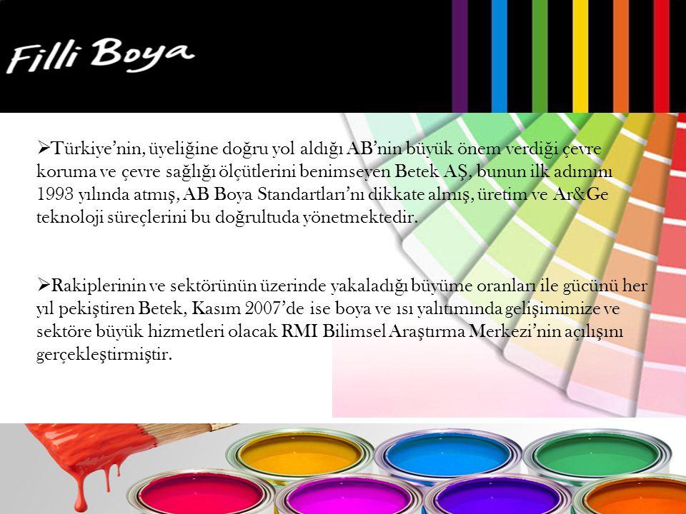Türkiye'nin, üyeliğine doğru yol aldığı AB'nin büyük önem verdiği çevre koruma ve çevre sağlığı ölçütlerini benimseyen Betek AŞ, bunun ilk adımını 1993 yılında atmış, AB Boya Standartları'nı dikkate almış, üretim ve Ar&Ge teknoloji süreçlerini bu doğrultuda yönetmektedir.