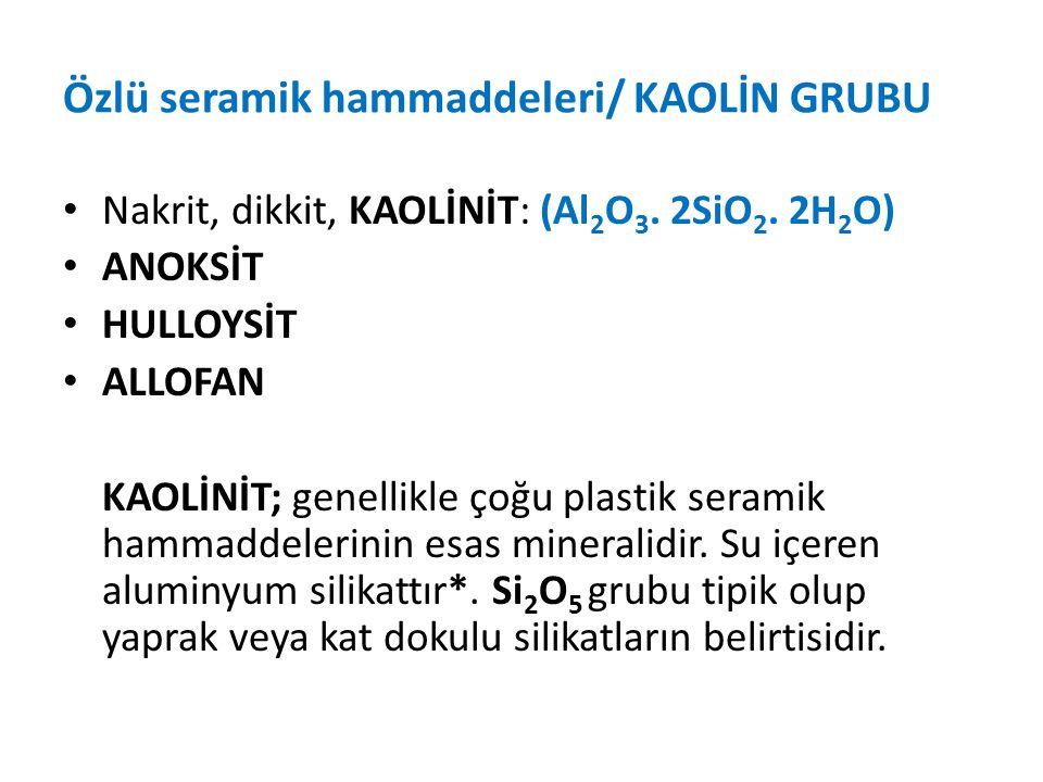 Özlü seramik hammaddeleri/ KAOLİN GRUBU