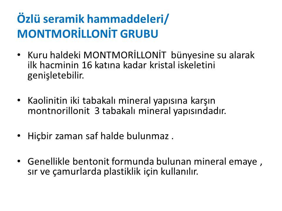 Özlü seramik hammaddeleri/ MONTMORİLLONİT GRUBU
