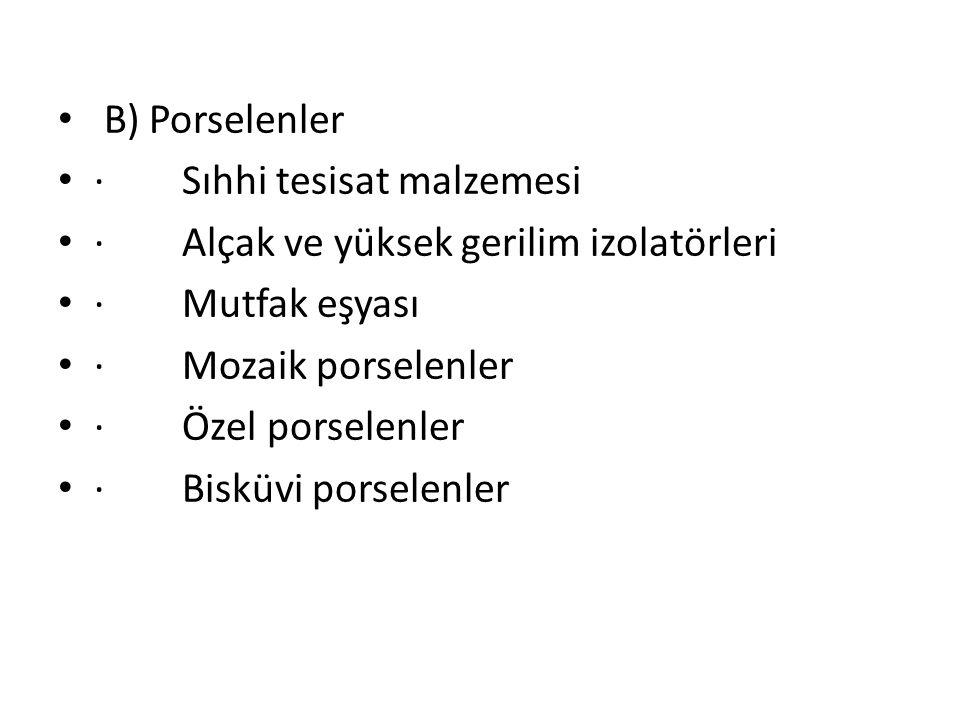 B) Porselenler · Sıhhi tesisat malzemesi. · Alçak ve yüksek gerilim izolatörleri. · Mutfak eşyası.