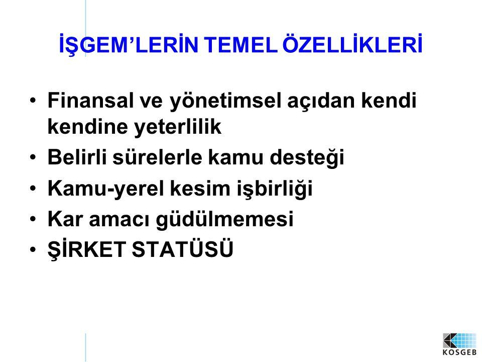 İŞGEM'LERİN TEMEL ÖZELLİKLERİ