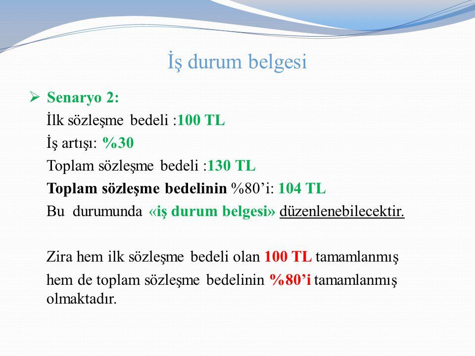 İş durum belgesi Senaryo 2: İlk sözleşme bedeli :100 TL İş artışı: %30
