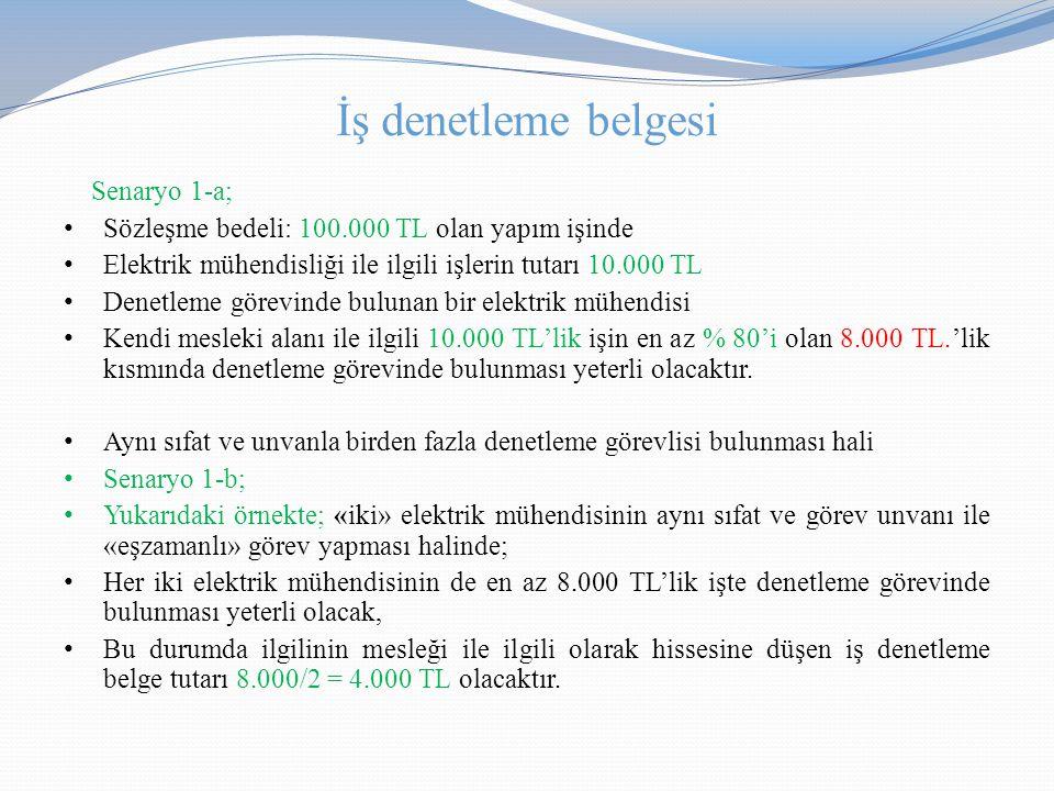 İş denetleme belgesi Senaryo 1-a;