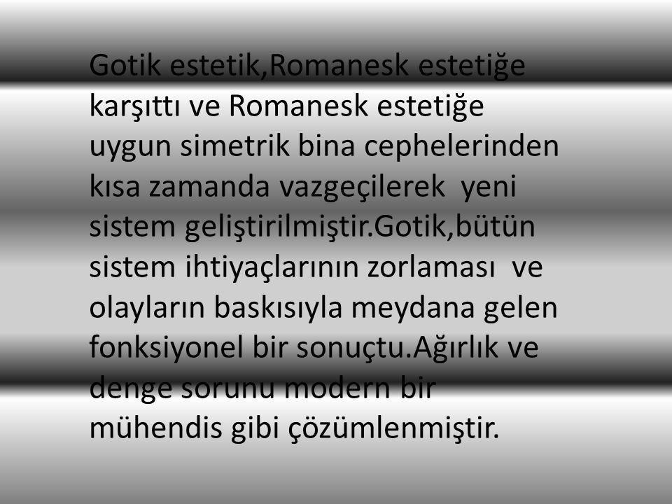 Gotik estetik,Romanesk estetiğe karşıttı ve Romanesk estetiğe uygun simetrik bina cephelerinden kısa zamanda vazgeçilerek yeni sistem geliştirilmiştir.Gotik,bütün sistem ihtiyaçlarının zorlaması ve olayların baskısıyla meydana gelen fonksiyonel bir sonuçtu.Ağırlık ve denge sorunu modern bir mühendis gibi çözümlenmiştir.